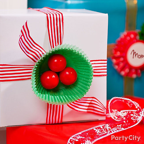 Holly Cupcake Liner Gift Topper Idea