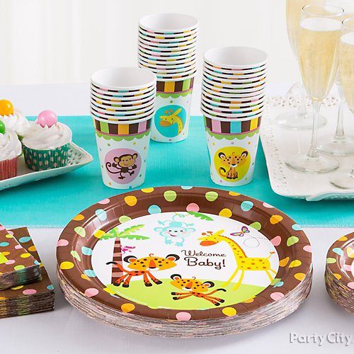 Jungle Theme Baby Shower Place Settings Idea