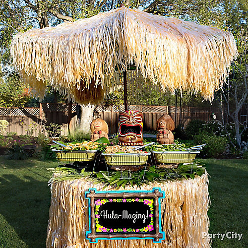 Raffia Luau Buffet Table Idea