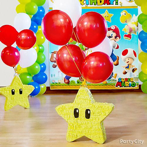 Super Mario Star Pinata with Balloons