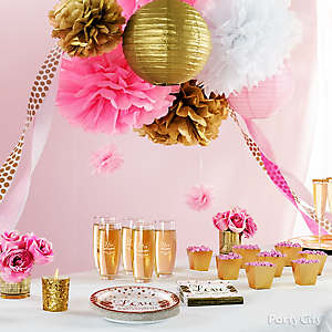 Pink and Gold Bridal Shower Decorations Idea