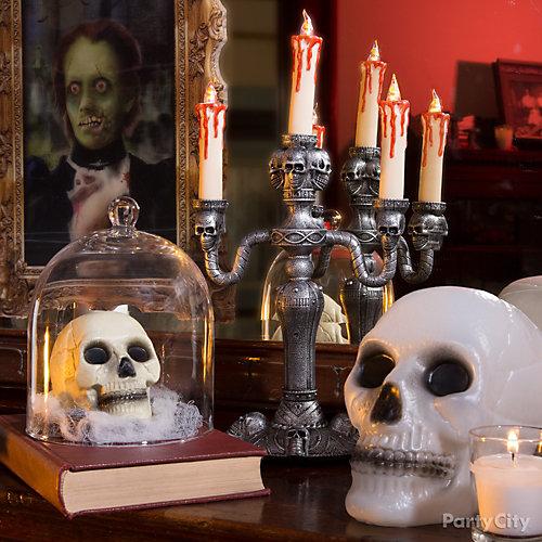 Skulls and Candelabra Mantel Idea