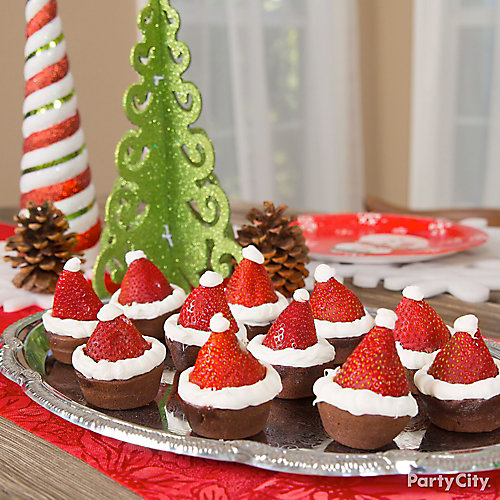 Strawberry Santa Hat Brownie Idea