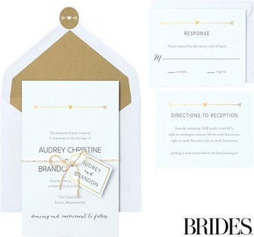 Printable wedding invitations invitation kits party city metallic gold rustic arrow printable wedding invitations kit 30ct stopboris Choice Image