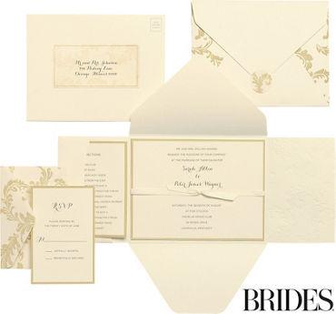 Printable wedding invitations invitation kits party city gold damask printable wedding invitations kit 30ct junglespirit Image collections