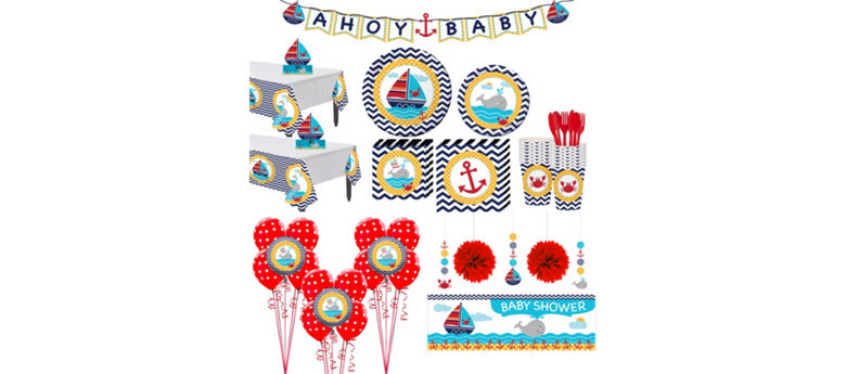 Ahoy Nautical Premium Baby Shower Kit for 32 Guests