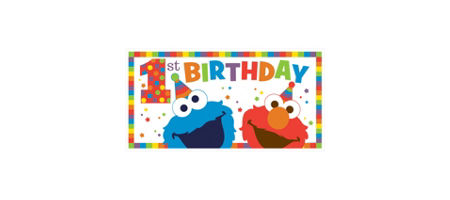 Elmo 1st birthday party supplies party city 1st birthday elmo banner filmwisefo Image collections