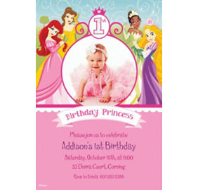 Custom disney princess 1st birthday invitations party city custom disney princess 1st birthday photo invitations filmwisefo