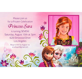 Frozen party supplies frozen birthday party ideas party city custom frozen photo invitations stopboris Image collections