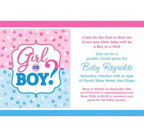 Girl or boy gender reveal party supplies party city custom girl or boy gender reveal invitation stopboris Image collections