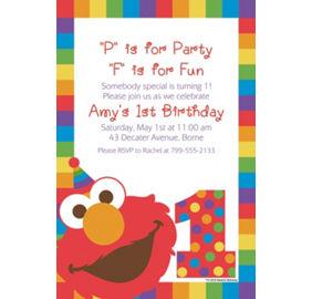 Elmo 1st birthday party supplies party city custom elmo 1st birthday invitation filmwisefo Choice Image