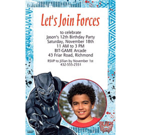 Custom black panther invitation party city custom black panther photo invitation stopboris Choice Image