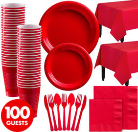 Red Plastic Tableware Kit for 100 Guests