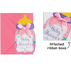 Baby shower invitations printable baby shower invitations party city premium pink bottle baby shower invitations 8ct filmwisefo Gallery
