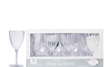 Clear Premium Plastic Wine Gles 8ct