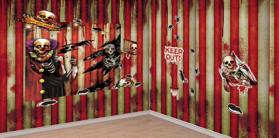 Giant Evil Circus Banner 65in X 33 1 2in Creepy Carnival