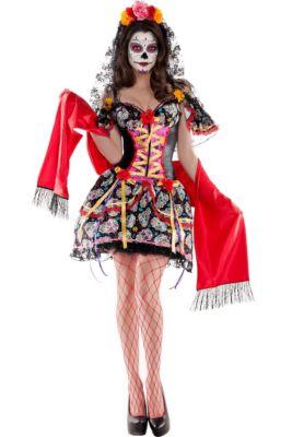 adult la catrina sugar skull body shaper costume day of the dead
