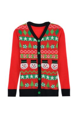 red snowman ugly christmas sweater cardigan