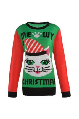 Adult Meowy Christmas Cat Ugly Christmas Sweater
