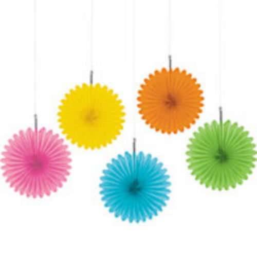 Multicolor Mini Paper Fan Decorations 5ct