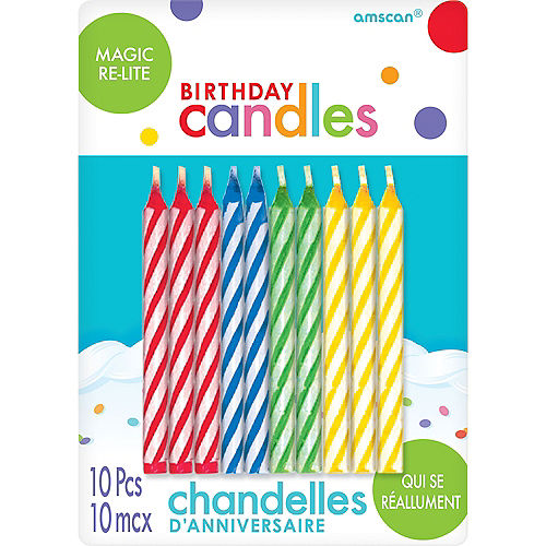 Multicolor Magic Re Lite Spiral Birthday Candles 10ct