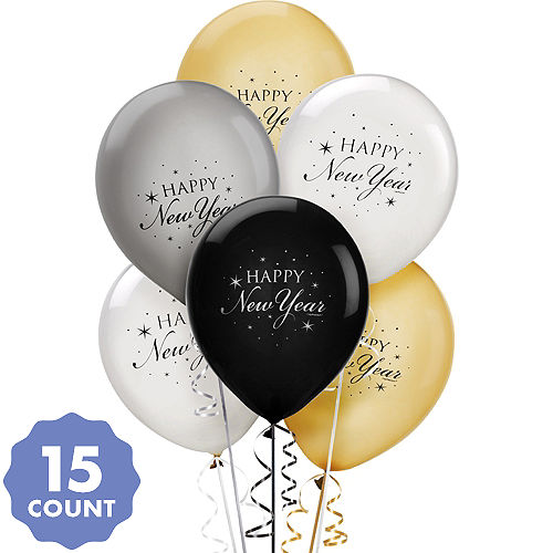 black gold silver happy new year balloons 15ct