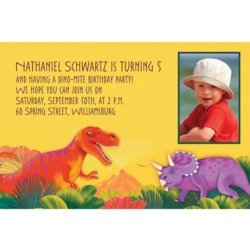 Custom Prehistoric Dinosaurs Photo Invitations