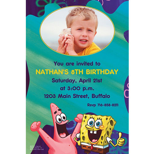 Custom Sponge Bob Classic Photo Invitations