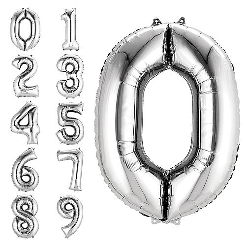 34in Silver Number Balloon 0