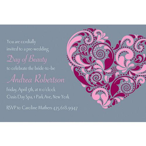 custom big heart bridal shower invitations