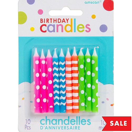 Multicolor Neon Pattern Birthday Candles 10ct