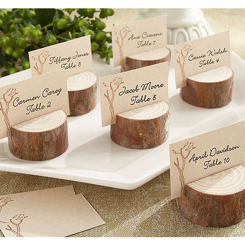 rustic tree wood place card holders - Table Place Cards