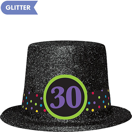 1208a0ba068 Glitter 30th Birthday Top Hat