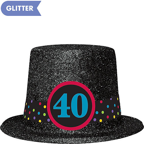 Glitter 40th Birthday Top Hat