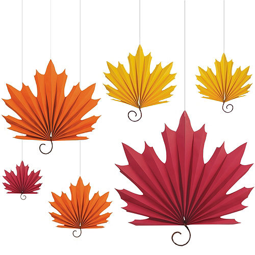 Fall Leaf Paper Fan Decorations 6ct Quick View