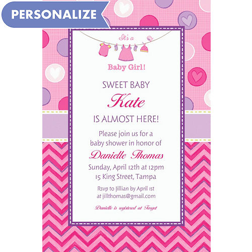 Custom Shower With Love Girl Invitations