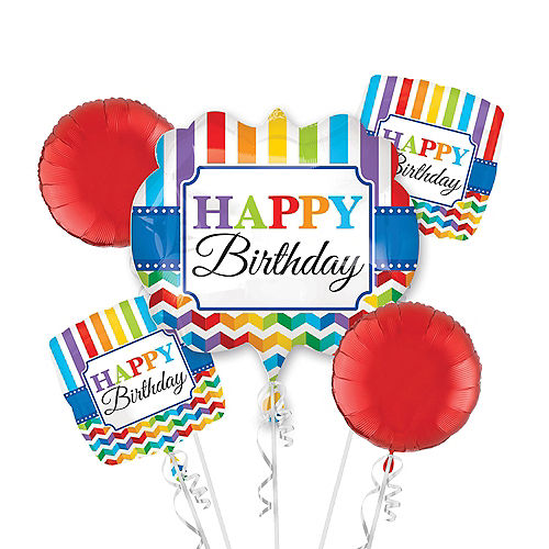 Rainbow Chevron Birthday Balloon Bouquet 5pc