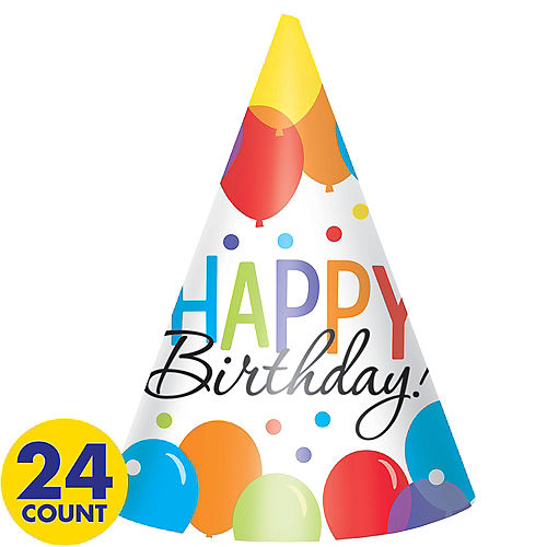 Rainbow Balloon Bash Birthday Party Hats 24ct