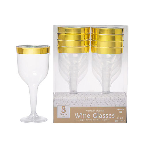 28cb02f585f5 CLEAR Gold-Trimmed Premium Plastic Wine Glasses 8ct