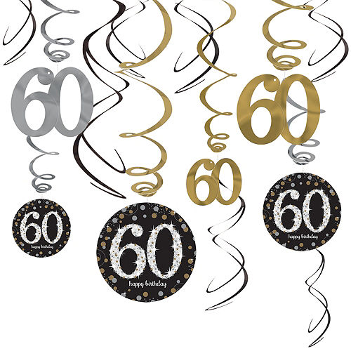 60th Birthday Swirl Decorations 12ct