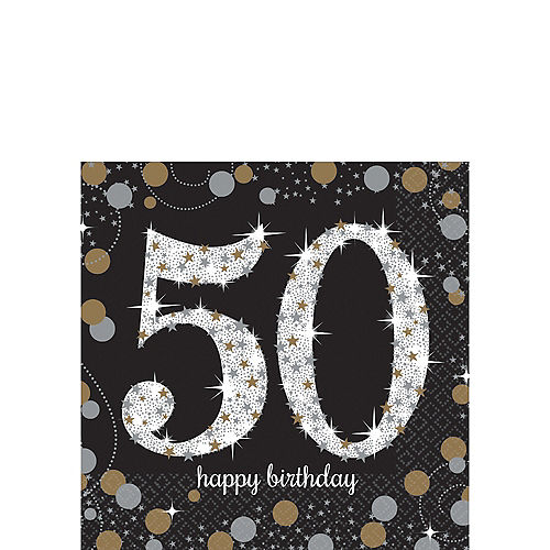50th Birthday Beverage Napkins 16ct
