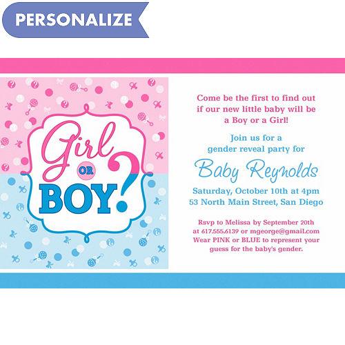 Custom baby shower invitations baby shower invites party city custom girl or boy gender reveal invitation filmwisefo