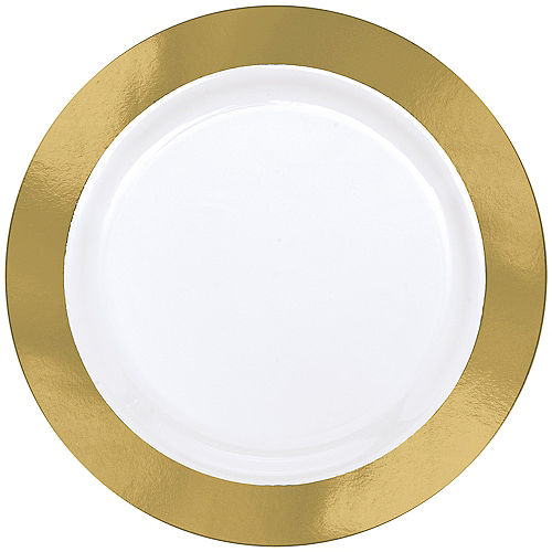 Gold Border Premium Plastic Dinner Plates 10ct