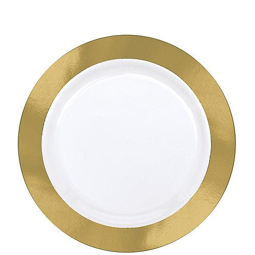 Gold Border Premium Plastic Lunch Plates 10ct
