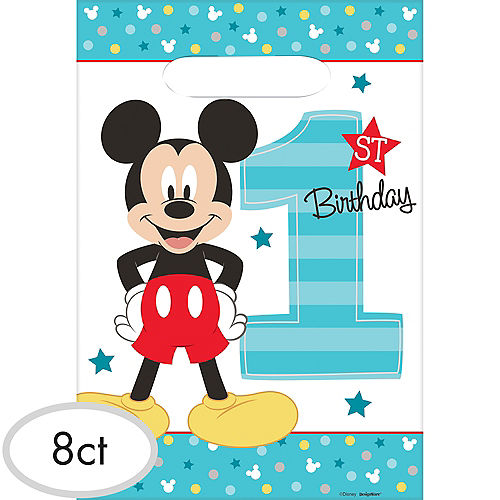 1st Birthday Mickey Mouse Favor Bags 8ct
