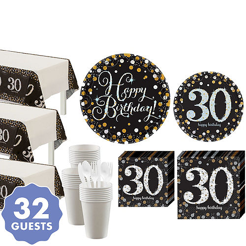 7dc23a8de Sparkling Celebration 30th Birthday Party Kit for 32 Guests