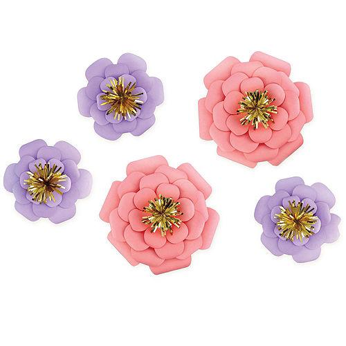 Pink Purple Paper Flower Decorations 5ct