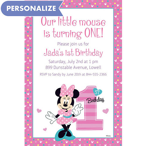 Custom invitations personalized invitations party city custom minnies 1st birthday invitation stopboris Choice Image