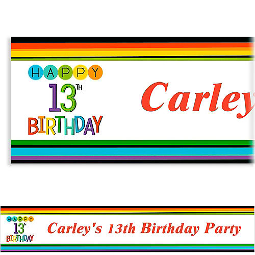 Custom Rainbow 13th Birthday Banner
