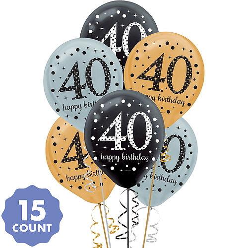 40th Birthday Balloons 15ct